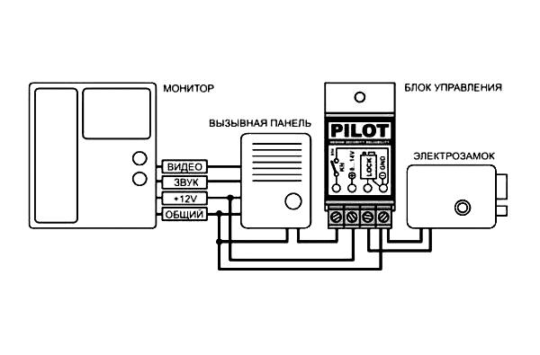 Схема соединения электрозамка