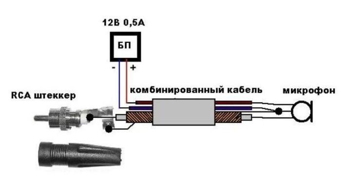схема подключения микрофона